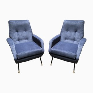 Italian Blue Velvet and Brass Armchairs, 1950s, Set of 2