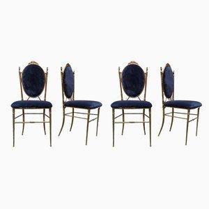 Chaises de Salle à Manger en Laiton et Velours, Italie, années 40, Set de 4