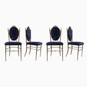 Italian Brass and Velvet Dining Chairs, 1940s, Set of 4