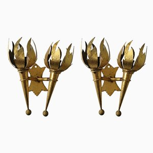 Golden Torch Sconces, 1960s, Set of 2