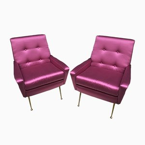 Italian Purple Satin and Brass Armchairs, 1950s, Set of 2