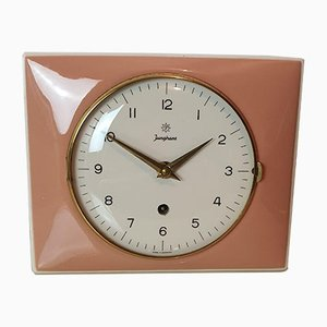 Ceramic Pink Clock from Junghaus, 1950s