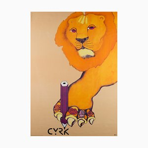 Vintage Polish Writing Lion Circus Poster by Danuta Żukowska, 1974
