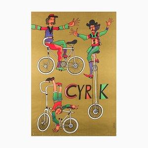 Polnisches Vintage Cycling Acrobats Zirkusplakat von Marian Stachurski., 1975