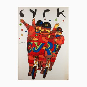 Vintage Polish Unicycle Gents Circus Poster by Jan Sawka, 1974
