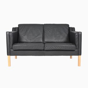 Danish 2-Seater Patinated Leather Sofa from Stouby, 1980s