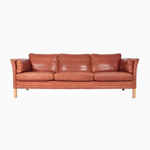 Mid-Century Danish Patinated Leather Sofa from Mogens Hansen, 1980s