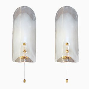 Austrian Gilt Brass and Murano Glass Tulip Sconces by J. T. Kalmar for Kalmar, 1970s, Set of 2