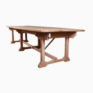 Mesa de refectorio antigua de sicomoro y madera de pino