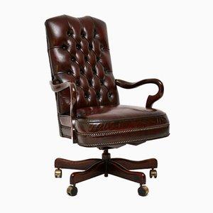 Chaise de Bureau Pivotante en Cuir et Acajou, années 50
