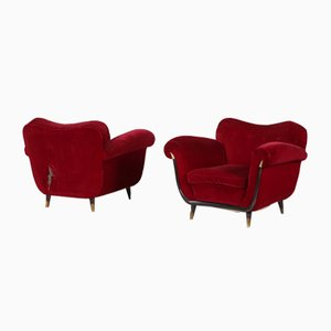Italian Red Armchairs by Guglielmo Ulrich, 1950s, Set of 2