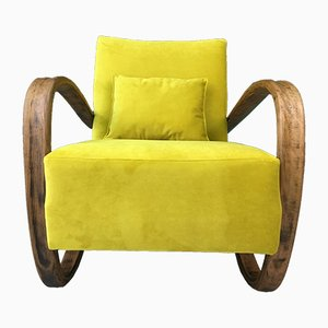 Mid-Century Art Deco Yellow Velvet and Bentwood Model H269 Armchair by Jindřich Halabala
