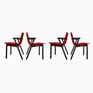 Chaises de Salle à Manger en Bois Laqué de Cassina, années 80, Set de 4
