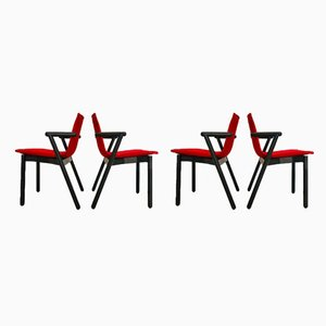 Lacquered Wood Dining Chairs from Cassina, 1980s, Set of 4