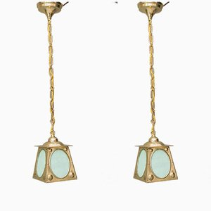 Art Deco Opaline Glass Pendant Lamps, 1920s, Set of 2