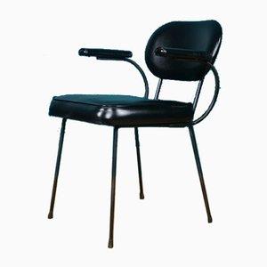 Black Vinyl Steel-Framed Armchair, 1950s