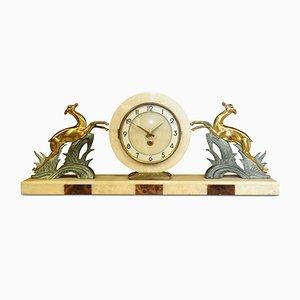 Orologio da camino Art Déco in onice, marmo e stoffa di Albert Villon per Bayard, anni '30