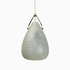 Mid-Century Italian Brass and Glass Drop Pendant Lamp, 1950s