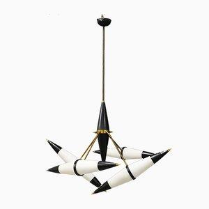 Lampada da soffitto in ottone e vetro opalino di Stilnovo, anni '50
