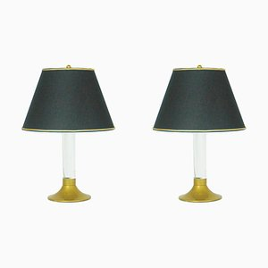Italian Brass and Plexiglass Table Lamps, 1970s, Set of 2