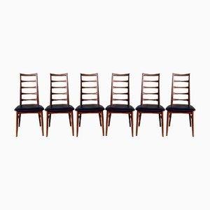 Lis Esszimmerstühle aus Teak mit Sprossen-Rückenlehnen von Niels Koefoed für Koefoeds Hornslet, 1960er, 6er Set