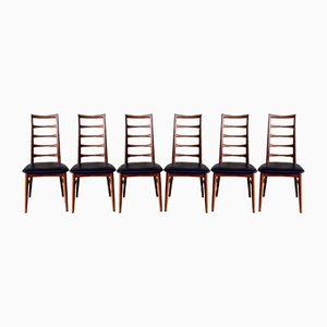 Lis Ladder Back Teak Dining Chairs by Niels Koefoed for Koefoeds Hornslet, 1960s, Set of 6