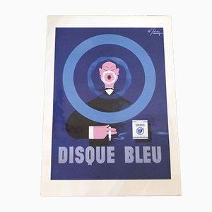 Affiche Publicitaire Encadrée par Albert Solon pour Gauloises Disque Bleu Albert Solon, années 90