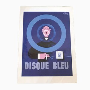 Framed Advertising Poster by Albert Solon for Gauloises Disque Bleu Albert Solon illustration, 1990s