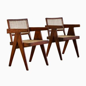 Cane Side Chairs by Pierre Jeanneret for Chandigarh, 1950s, Set of 2