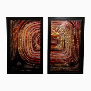 Vintage Multicolored Resin Panels, 1970s, Set of 2