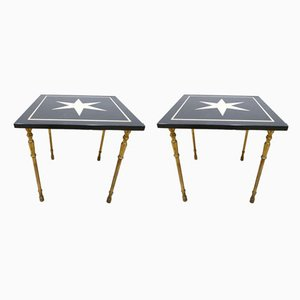 Mid-Century Marble and Brass Side Tables, 1950s, Set of 2