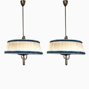 Lámparas colgantes italianas Mid-Century en azul y marfil, años 50. Juego de 2