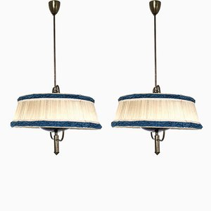 Mid-Century Italian Ivory and Blue Pendant Lamps, 1950s, Set of 2