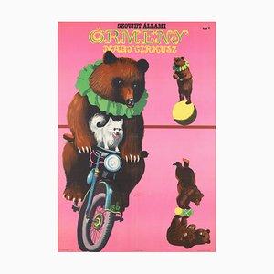 Affiche Cirque Hungarian Bears Arménien par Sandor Benko, Hongrie, 1967