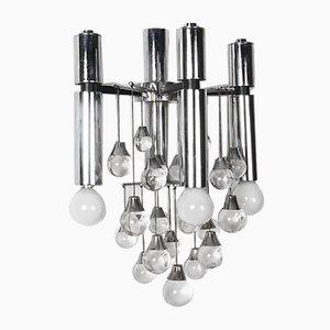 Wandleuchte aus Chrom & Glas von Gaetano Sciolari für Sciolari, 1960er