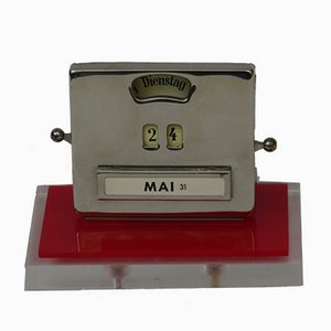 Vintage Art Deco Plexiglass and Chrome Plated Perpetual Calendar from Jakob Maul