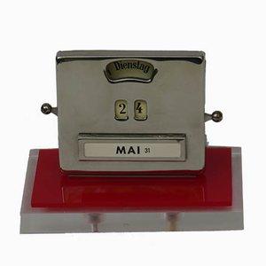 Vintage Art Deco Plexiglass and Chrome Plated Perpetual Calendar from Jakob Maul