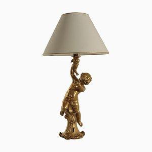 Vintage Tischlampe aus Porzellan mit Skulptur von Benaccio Giorgio