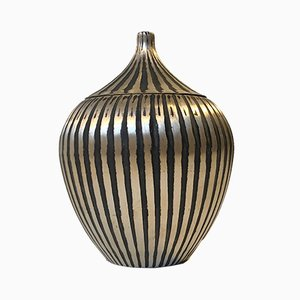 Danish Striped and Lidded Brass Onion Vase, 1930s