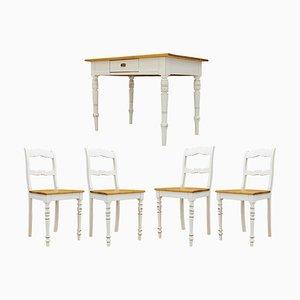 Juego de mesa de comedor y sillas alemanas antiguas