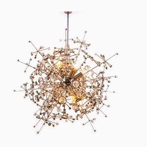 Lámpara colgante Sputnik alemana Mid-Century de cristal y níquel de Christoph Palme para Palwa, años 60