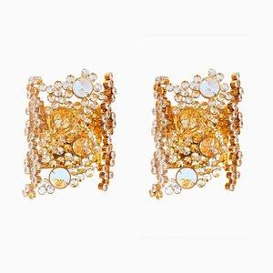 Applique placcate in oro in cristallo di Palwa, Germania, anni '60, set di 2