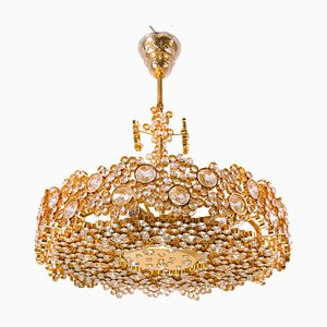 Gold Plated Brass and Crystal Chandelier from Palwa, 1960s