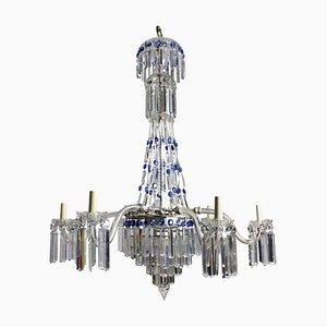 Lámpara de araña en cascada inglesa antigua de cristal tallado, década de 1870