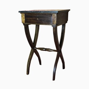 Antique Mahogany and Marble Nightstand, 1900s