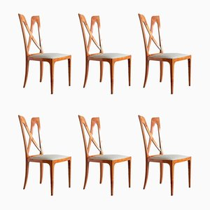 Italian Cherrywood Dining Chairs by Ulderico Carlo Forni, 1940s, Set of 6