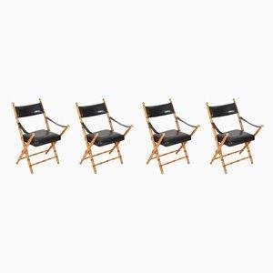 Chaises Pliantes en Cuir et Imitation Bambou, France, 1970s, Set de 4