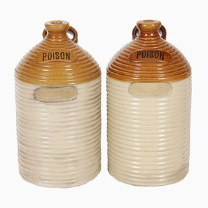 Antique English Stoneware Pharmaceutical Poison Jars, Set of 2