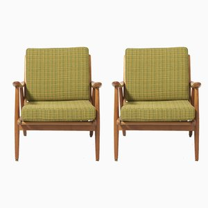 Mid-Century Ash Wood Armchairs, Set of 2
