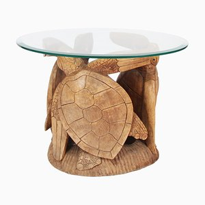 French Carved Wooden Turtle Coffee Table, 1960s